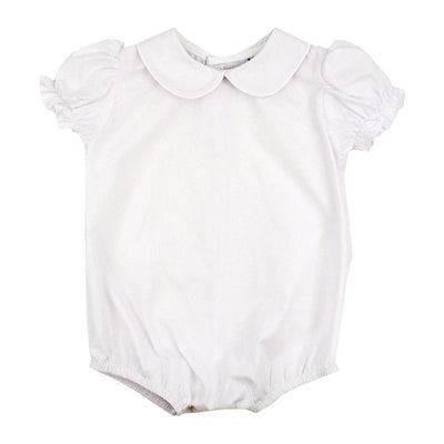 Button Back Girls Short Sleeve Piped Onesie - White
