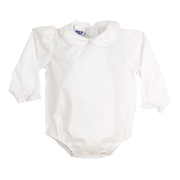 Girls Long Sleeve Button Back Onesie-White