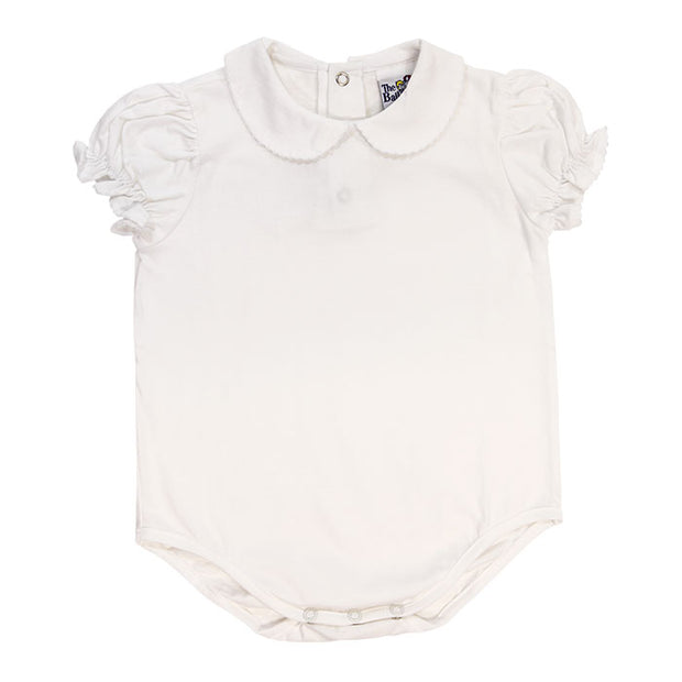 White Knit-Girls Short Sleeve Button Back Onesie