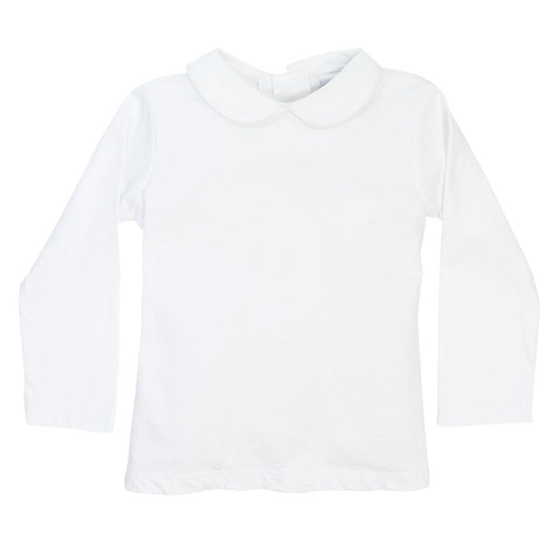 White Knit-Unisex Long Sleeve Button Back Piped Shirt