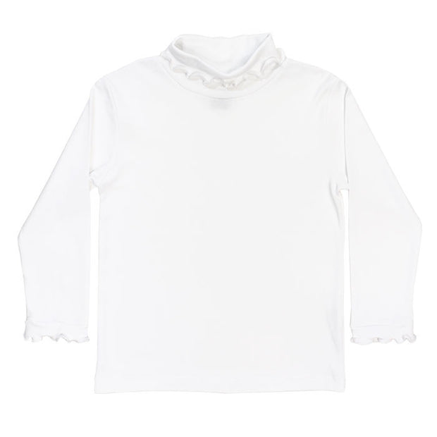 White Knit-Ruffled Turtle Neck
