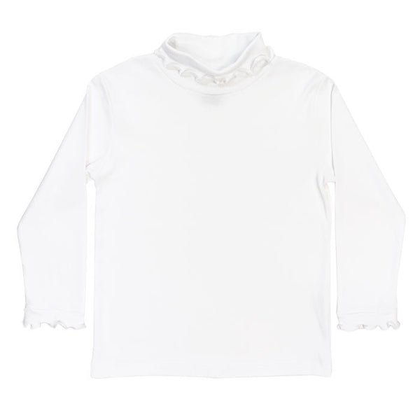 Girls White Knit Turtle Neck with Ruffle