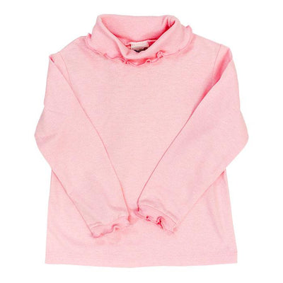 Medium Pink Knit-Ruffle Turtle Neck