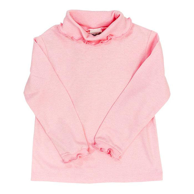 Medium Pink Knit-Ruffle Turtleneck
