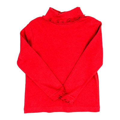 Red Knit-Ruffle Turtle Neck