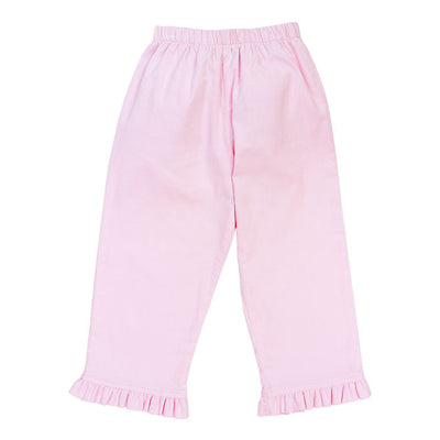 Light Pink Corduroy-Girls Elastic Pant with Ruffle