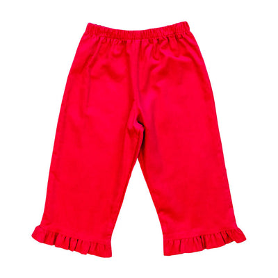 Fuchsia Corduroy-Girls Elastic Pant with Ruffle
