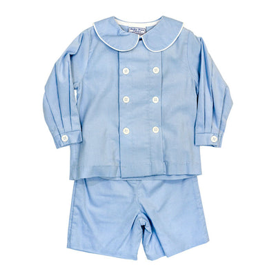 Light Blue Corduroy-Dressy Short Set