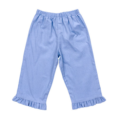 Light Blue Corduroy- Girls Elastic Waist Pant with Ruffle