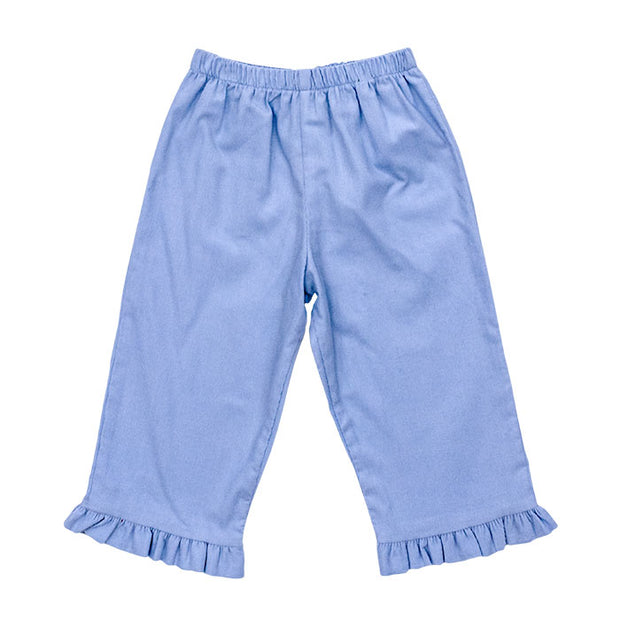 Light Blue Corduroy-Girls Elastic Waist Pant with Ruffle