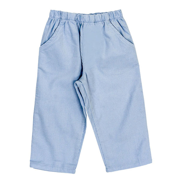 Light Blue Cordoroy-Boys Elastic Waist Pant