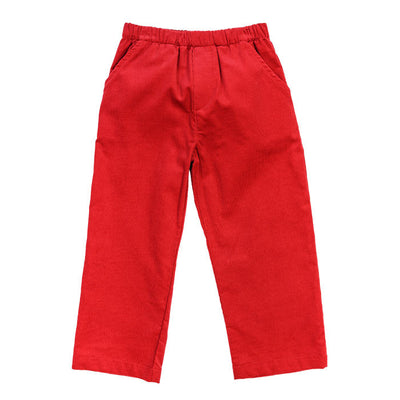 Red Corduroy-Elastic Pants