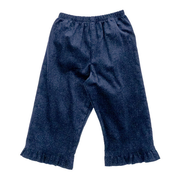 Navy Corduroy-Girls Elastic Waist Pant with Ruffle
