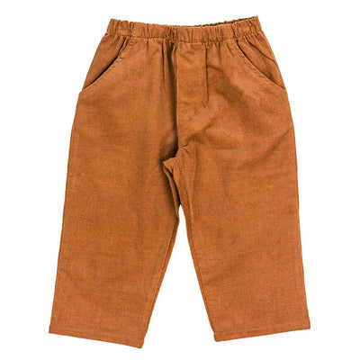 Chocolate Brown Corduroy-Boys Elastic Waist Pant
