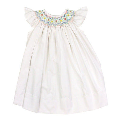 Smocked Pastel Flowers-Classic White Bishop Dress