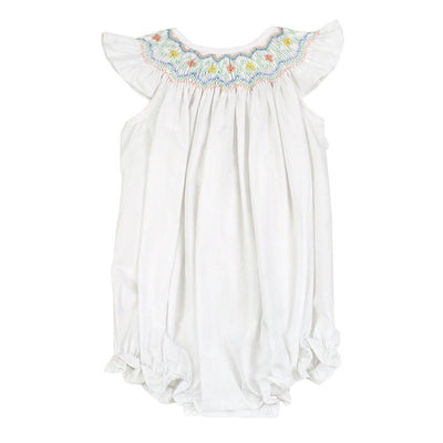 Smocked Pastel Flowers-Classic White Bishop Romper