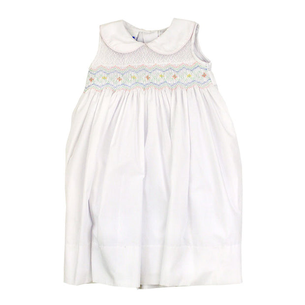 Smocked Pastel Flowers on White-Dress