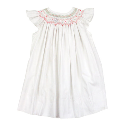 Smocked Pastel Hearts-Classic White Bishop Dress