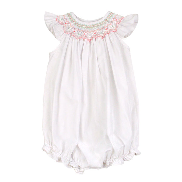 Smocked Pastel Hearts-Classic White Bishop Romper