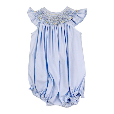 Smocked Ivory-Springtime Blue Bishop Romper