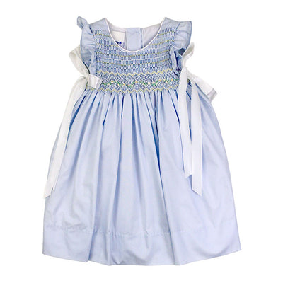 Smocked Ivory-Springtime Blue Bow Dress