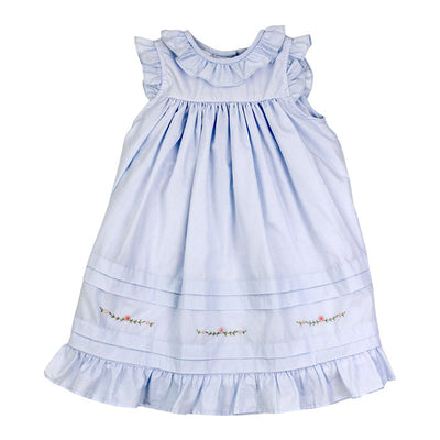 Smocked Pin Tuck Dress-Springtime Blue