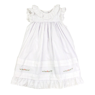 Smocked Pin Tuck Dress-Classic White