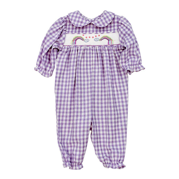 Smocked Rainbow-Girls Romper
