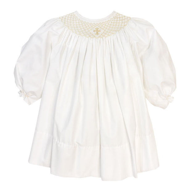 Smocked Christening Collection-Girls Long Sleeve Bishop Dress