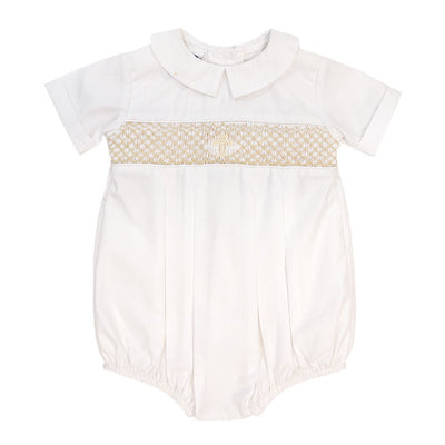Smocked Christening-Boys Short Sleeve Dressy Bubble