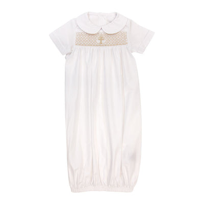 Smocked Christening-Boys Short Sleeve Newborn Sac