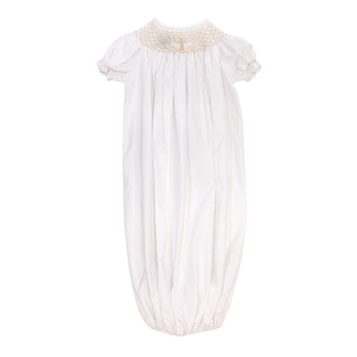 Smocked Christening-Girls Short Sleeve Newborn Sac