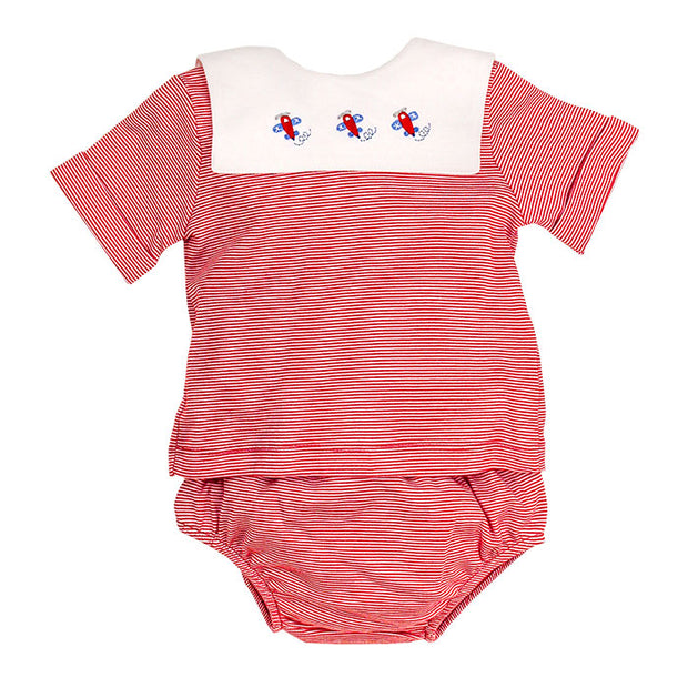 Airplane on Red Stripe-Boys Diaper Cover Set