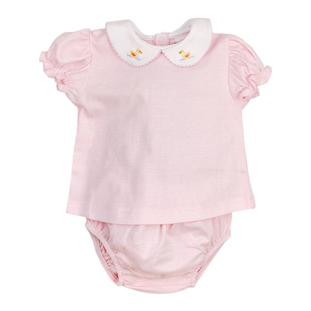 Ducky on Pink Stripe-Girls Diaper Cover Set