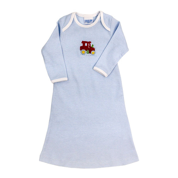 Tractor on Blue Stripe-Boys Day Gown