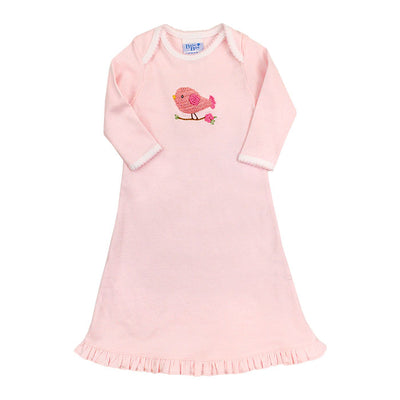 Bird on Pink Stripe-Girls Day Gown