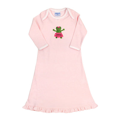 Frog on Pink Stripe-Girls Day Gown