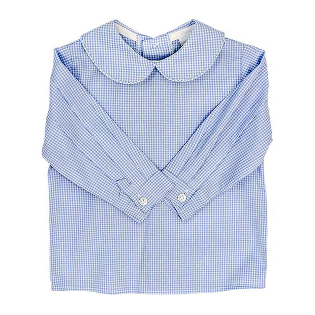 Boys Piped Button Back Shirt-Light Blue Check