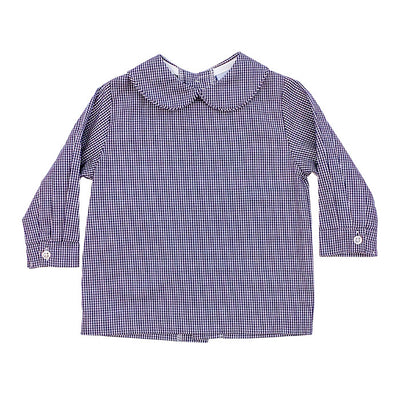 Boys Piped Button Back Shirt-Navy Check