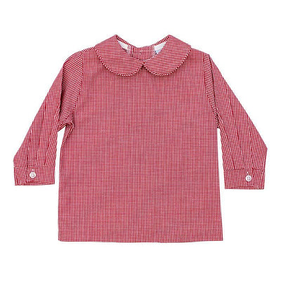 Boys Piped Button Back Shirt-Red Check