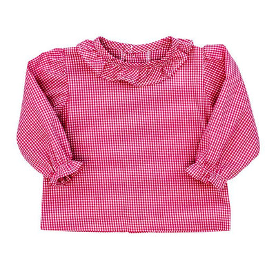 Girls Button Back Shirt with Ruffle-Fuchsia Check