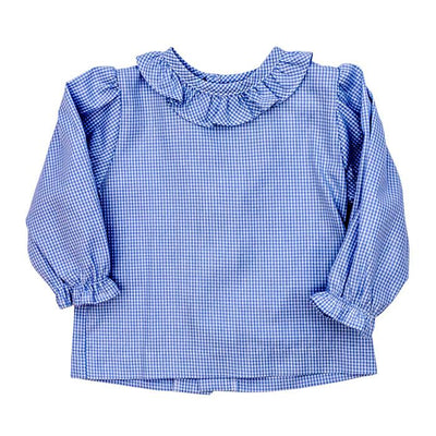 Girls Button Back Shirt with Ruffle-Light Blue Check