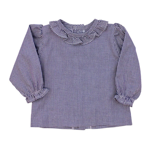 Girls Button Back Shirt with Ruffle-Navy Check