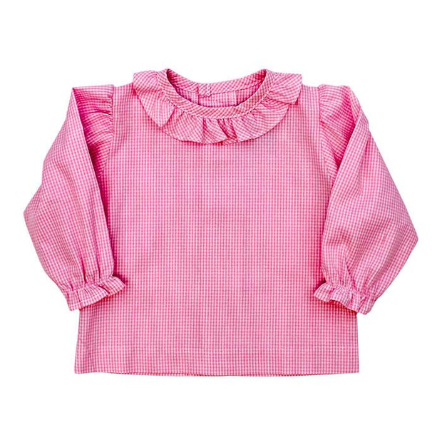 Girls Button Back Shirt with Ruffle-Pink Check