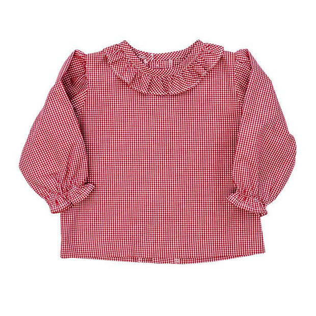 Girls Button Back Shirt with Ruffle-Red Check