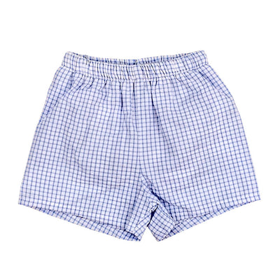 Light Blue Windowpane Seersucker-Boys Short