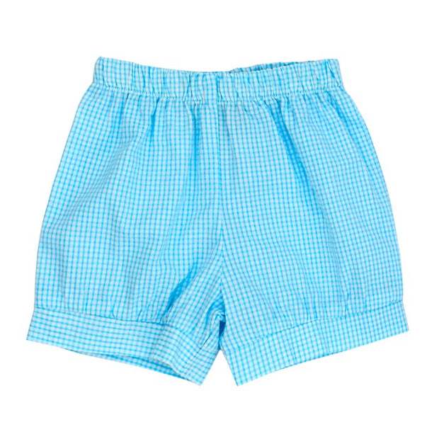Aqua Check Seersucker-Banded Short
