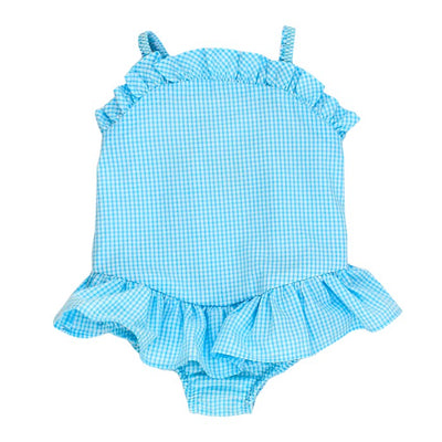 Aqua Check Seersucker-One Piece Swimsuit with Ruffle