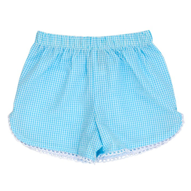 Aqua Check Seersucker-Girls Short