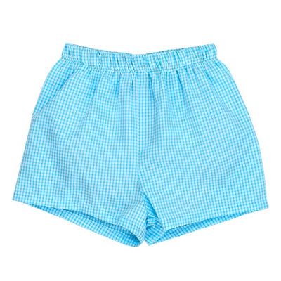 Aqua Check Seersucker-Swimtrunk
